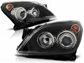 Opel Astra H 04 09 Lampy Przód Ringi Angel Eyes Black