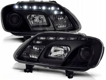 VW TOURAN 03 06 Lampy przód Clear Black DAYLIGHT LED