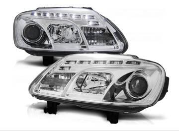 VW TOURAN 03 06 Lampy przód Clear Chrom DAYLIGHT LED